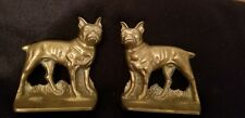 Vintage Brass French Bulldog Terrier Dog Bookends