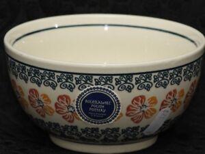 BOLESLAWIEC Polish Pottery RED & ORANGE POPPIES Small Bowl