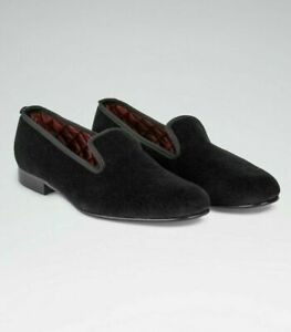 Nice $395 New & Lingwood Black Red Velvet Slippers Loafers Evening Smoking Dress