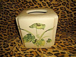 CROSCILL CABANA GREEN CREAM TROPICAL (1) TISSUE BOX COVER  6 X 6 CERAMIC BATH