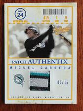 Miguel Cabrera 2005 Fleer Authentix 4 Color GameUsed Patch #5/15 Florida Marlins