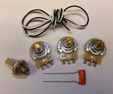 Jazz Bass Guitar Wiring Kit CTS 500K Pots Orange Drop .047uf Capacitor Fender