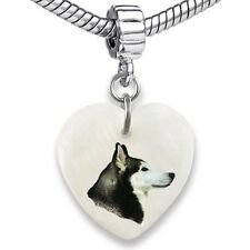 Siberian Husky Heart Dangle Mother Of Pearl European Bracelet Charm Bead EBS3