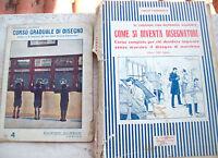 1930 LOTTO DI LIBRI E MANUALI SUL DISEGNO DI MACCHINE E PER SCOLARI