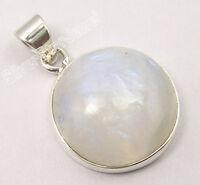 "925 Solid Silver BIG RAINBOW MOONSTONE Round PRETTY Pendant 1.1"" New Jewellery"