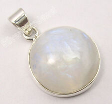 "925 Solid Silver BIG RAINBOW MOONSTONE Round PRETTY Pendant 1.1"" New Jewellery"