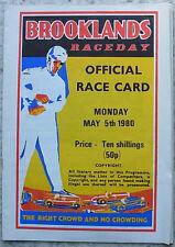 THRUXTON 5 mai 1980 BROOKLANDS Raceday A4 voiture de course officiel carte programme