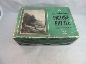 1940's Saalfield Interlocking picture puzzle. Jig saw. Spring in the Alps