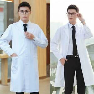 Doctor Work Clothes Men White Coat Medical Lab Uniform Scientist Jacket S/3XL