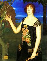 Oil painting Viladrich Miguel A Portrait Of A Lady With a Parakeet in landscape