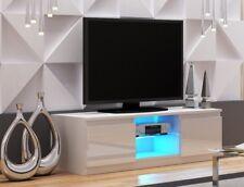 TV Unit WHITE GLOSS Doors TV Cabinet Entertainment Stand 120cm Modern Glass NEW