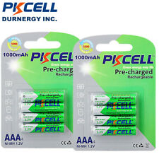 8pcs AAA 1.2V 1000mAh NiMh Pre-charged Rechargeable Batteries PKCELL