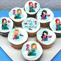 "Mermaid Edible Icing Cupcake Toppers - 2"" - PRE-CUT - Sheet of 15"