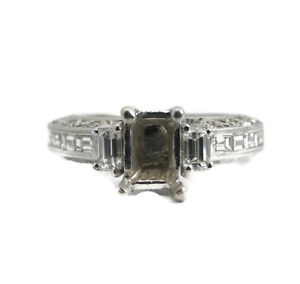 Baguette Round Diamond Engagement Ring Setting Mounting 18K White Gold, 1.29 CTW