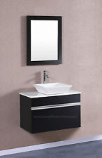 "Modular Wall Mount VESSEL Vanity Sink 30"" BLACK Hung Floating Bathroom"