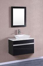 "Modular Wall Mount VESSEL Vanity Sink 30"" BLACK Hung Floating Bathroom"