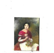 Miniature Oil painting BEAUTIFUL LADY WITH FLOWERS IMPRESSIONISM FRAMED