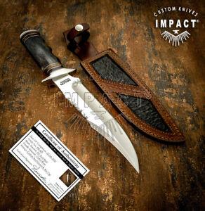 IMPACT CUTLERY RARE CUSTOM D2 BOWIE KNIFE CAMEL BONE HANDLE