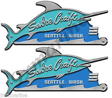 """Sabre Craft 8""""X 3.5"""" inch long two sticker set. Remastered"""