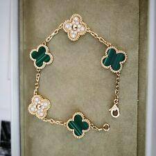 ✺✻✼Van Cleef & Arpels Vintage Alhambra Bracelet, Yellow gold, Diamond, Malachite