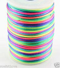 2MM Rattail Satin Cord Macrame Beading Nylon kumihimo String DIY 10ya