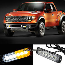 1X White&Amber 6 LED Emergency Hazard Warning Caution Beacon Strobe Light Bar#90