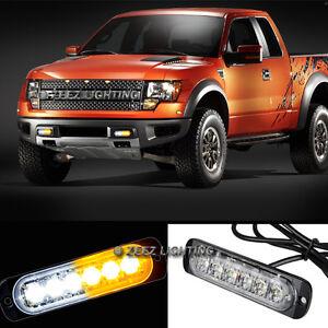 1X White&Amber 6 LED Emergency Hazard Warning Caution Beacon Strobe Light Bar#10