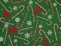 FAT QUARTER CANDY CANES SNOWFLAKES RIBBONS FABRIC COTTON CHRISTMAS  QUILTING  FQ