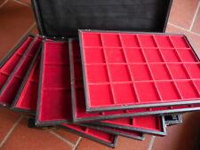 valigetta con 6 vassoi in legno in velluto rosso caselle miste
