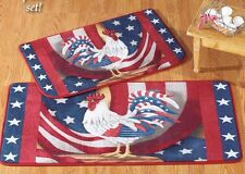 """Rare 2 pc Patriotic Rooster Rug Set, app. 20""""x 40"""" & 18""""x 30"""", USA FLAG ROOSTER"""