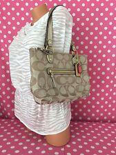 NEW Coach Poppy Signature C Stamped Hallie Tote Handbag Bag Beige Pink Metallic