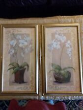 """Home Interiors Homco Orchid Prints Pictures by Artist Joan Cole 27"""" X 15"""""""