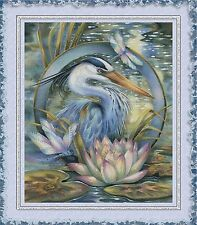 CRANE AMONG LOTUS BLOSSOMS~COUNTED CROSS STITCH PATTERN ONLY