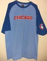 Nike Chicago Cubs Stitched Chicago Logo Blue Short Sleeve Shirt Men's Size XL