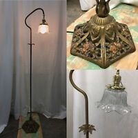 Antique Vintage Victorian Floor Bridge Lamp Arts & Crafts Deco Piano Glass Shade