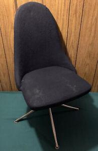 "Vtg Antique Mid Century Modern Black Upholstery Fabric Office Desk Chair 35"" T"