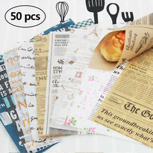 50x Oil-proof paper Food Baskets Liner for BBQ Sandwich Fast Food Wrap 25cmx10cm