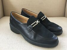 ECCO CHOICE BLACK LEATHER SUEDE SLIP ON WEDGE LOAFERS SIZE 38 US 7-7.5