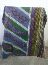 Indian Kantha Old Vintage Blanket Bedding Reversible Throw Floral Bohemian Quilt