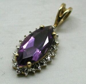 Lovely 9 carat Gold Amethyst And Diamond Pendant