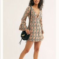 Free People Gia Shift Dress Tea Combo Long Bell Sleeve Cotton XS/Sm $128