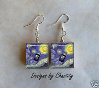 Doctor Who Starry Night Scrabble Charm Earrings - Van Gogh Tardis Time Machine