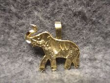 "Lucky Elephant With Trunk Up Pendant Charm Gold Finish 1"" Long w/ Etched Accents"