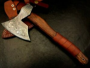 Handmade Damascus Steel Viking Axe-Tomahawk-Hatchet-Functional-Da3