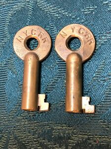 (2) Antique New York Central NYCS Railroad Brass Adlake