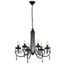 Modern Crystal Chandelier Ceiling Light 6 Lamp Pendant Lighting Fixture Black