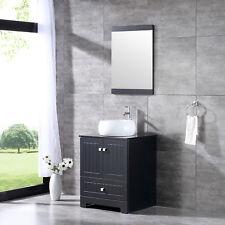 "24"" Bathroom Vanity Wood Cabinet Ceramic Vessel Sink Bowl Faucet Drain Combo Set"