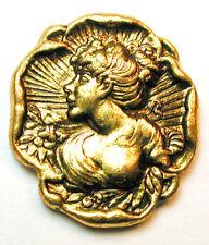 """Vintage Brass Button Pretty Art Nouveau Woman Design - 15/16"""""""