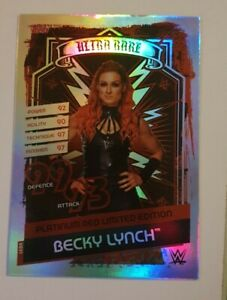 WWE Slam Attax Reloaded Limited Edition Becky Lynch Platinum Red Card Ultra rare
