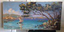 HST Tableau XXéme Marine bord d'un lac signé Vincent CERMIGNANI (1902-1971)
